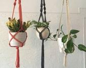 Modern macrame plant hangers - grey