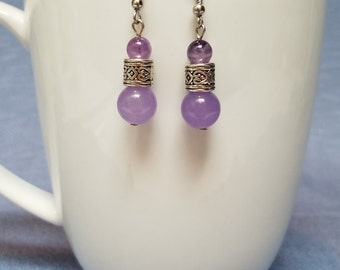 Amethyst and silver tube earrings, purple earrings, silver earrings, amethyst earrings, dangle earrings