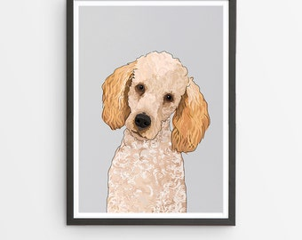 Poodle Illustrated Breed Print  / Various Colours /  Dog Lover's Gift / Poster