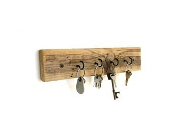 Reclaimed Wood Key Hooks - rustic key holder rustic key hanger rustic wall hooks rustic key storage barn wood barnwood rustic wall decor