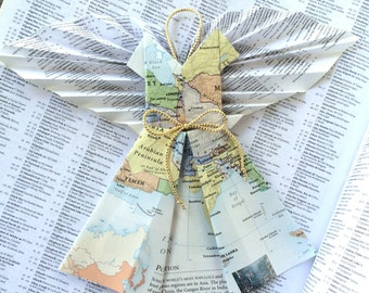 Guardian Angel of Middle East Map Ornament w/ Book Page Wings - Modern Christmas Decor- Repurposed Books Art - Inspiration Angels