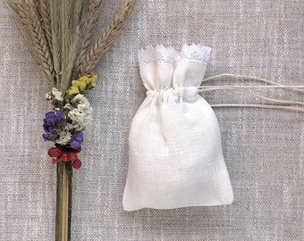 Wedding favor Gift bags, White linen sachets, White Linen Gift Bags with Lace, Set of 3, Communion favor Gift bags, Christening gift bag