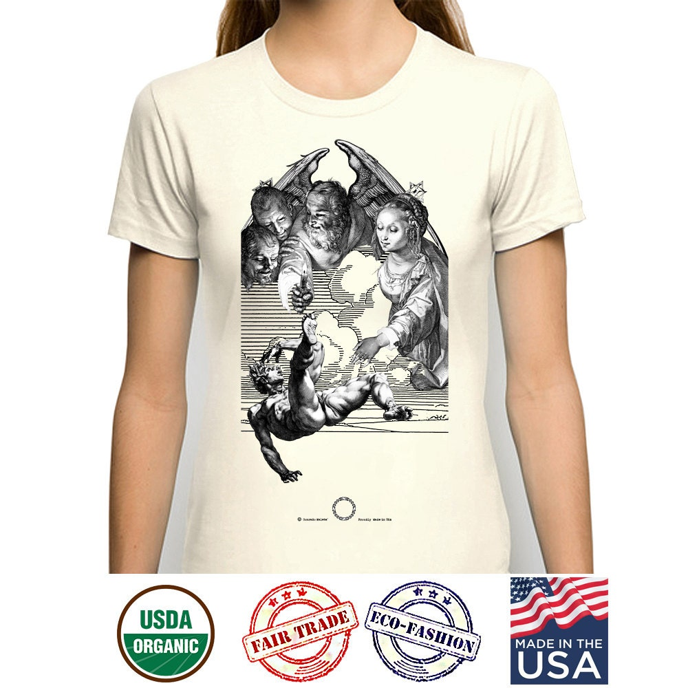 Organic cotton t shirt virgin mary tshirt dtg printing for Organic cotton t shirt printing