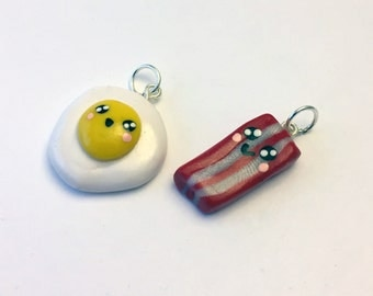 "Polymer Eggs & Bacon ""Best Friends"" Charms"