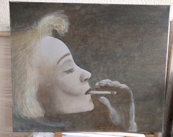 smoking woman black white oil painting hand-made