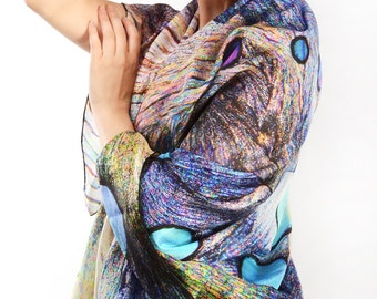 Penelope - Pure Silk Scarf - natural organic form