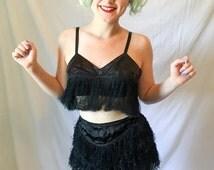 1950's Black Satin Fringed Burlesque Outfit 2 Piece Set