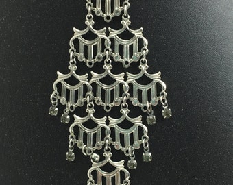 Silver Chandelier Statement Necklace
