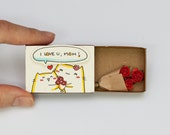 """Mother's Day Card, Cat Mothers Day Gift, Handmade Card for Mom, Gift for Mom, """"I love you mom"""" Matchbox, Cat Mother Card Roses, OT029"""