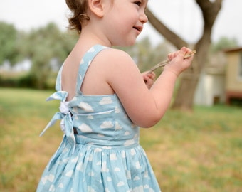Girls dress Cloud Print , bow tie back, Nature print. dress for girls and toddlers by Berry and Kit.