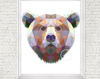 Geometric print, nursery art, bear, digital prints, nursery decor, kids room art, printable, nursery wall art, digital, modern nursery decor