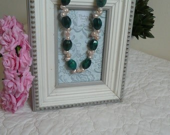 Freswater pearls and malachite necklace Handmade necklace One strand necklace Statement necklace Elegant necklace Baroque pearls necklace