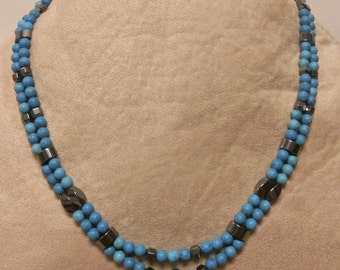Turquoise and Hemalyke Beaded Necklace