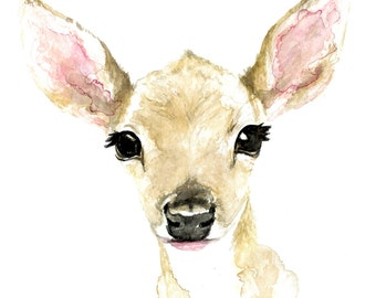 Baby Fawn Watercolor Print