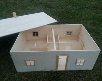 Handmade wooden dollhouse - Natural wood heirloom doll house - Waldorf, Montessori -Ready to ship