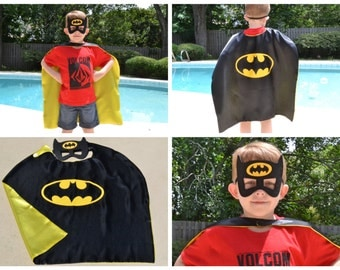 Batman Cape and Mask - Kids And Adult Superhero Costume. Great for Child Toddler Birthday Party Outfit. Personalized Name available.
