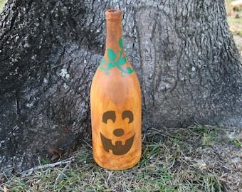 Pumpkin/Pumpkin Bottle/Pumpkin Decor/Handpainted Pumpkin/ Halloween Decor/ Fall Decor/Autumn Decor