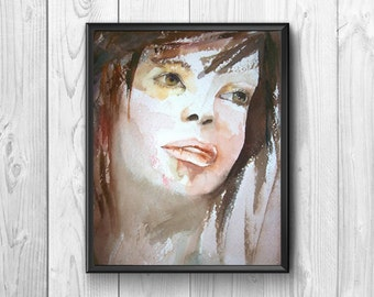 Artistic watercolor portrait of young woman