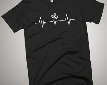 Love Vegan Heartbeat T-Shirt Go Green Vegetarian