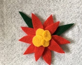 Felt Poinsettia Hair Clip, Magnet, or Brooch