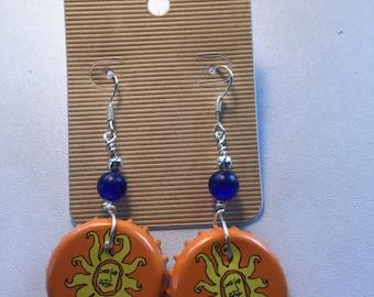 Oberon Bottle Cap Earrings with Dark Blue Beads