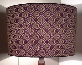 Hand made rolled edge 'purple aztec' fabric lampshade