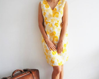 Vintage 60s Yellow Floral Shift Dress - UK 14/16