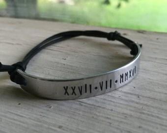 Roman Numerals Bracelet - Silver - Roman Numerals - Custom