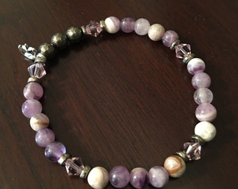 amethyst and pyrite bead bracelet