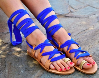 Blue Leather Sandals 50% Off / Lace up Royal blue Sandals / Tie Up Gladiator Sandals / Bohemian Flat Sandals / Greek Leather / Beach wedding