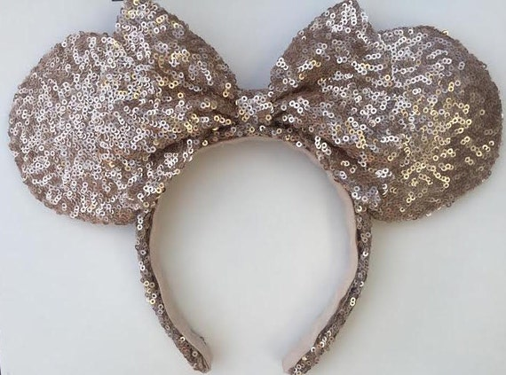 items similar to disney ears sequin disney ears rose gold disney ears disney minnie ears. Black Bedroom Furniture Sets. Home Design Ideas