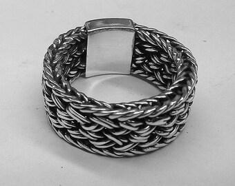 Tribal artisan handmade woven ring mens womens 925 sterling ring gift