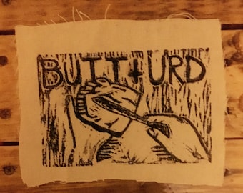 Buttturd Linocut Patch 5x7 (no seam on edges)