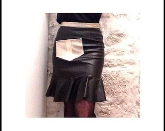 Flounce skirt, leather mix Gr. 38