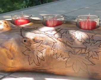 Hand carved log candle holder