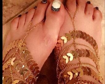 Gold Goddess Barefoot Sandals
