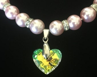Swarovski Chrystal Love Heart and Pink Pearls 18""