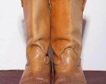 Vintage Mens Men Tan Leather Cowboy Boots 9