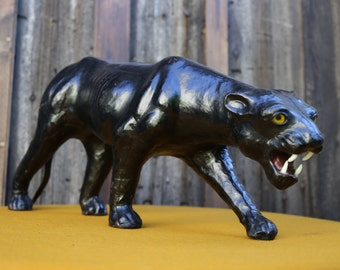Magnificent and beautiful Panther papier mache covered with leather, rare (1980)
