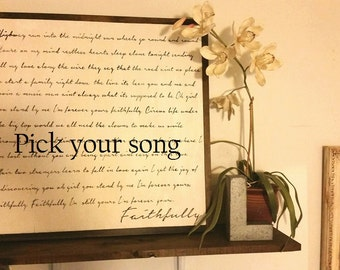Custom lyric sign, choose your song, wedding gift, anniversary gift, custom vows, custom song, personalized lyric , sentimental, memorial