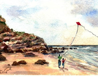 Let's Fly A Kite - Original Watercolor Painting