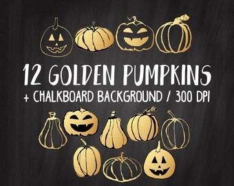 SALE Gold Pumpkin Clipart, Gold Halloween Clipart, Gold Foil Pumpkins, Commercial Use, Handdrawn Pumpkins, Gold Autumn, Gold Fall Clipart