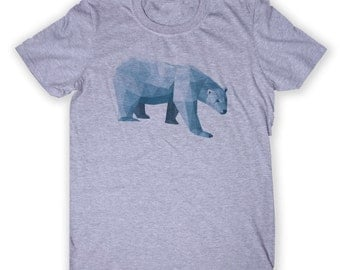 Geometric Polar Bear Head Tee Hipster Graphic Animal Lover T-shirt