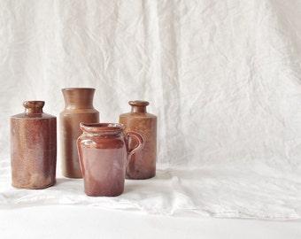 Antique Sienna Stoneware Jug (pictured front)