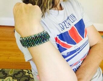 Blue/Green Safety Pin Bracelet