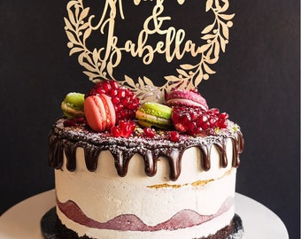 Wedding Cake Topper Custom Names Personalized Name Wood Cake Topper Rustic Wedding Cake Topper