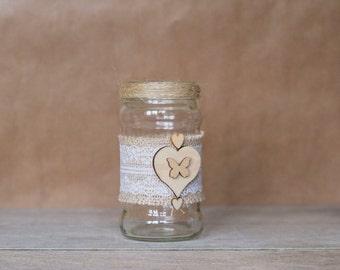 Rustic Heart Butterfly Jar - Medium