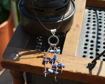 Short Sterling Silver and Lapis Lazuli Leather Necklace