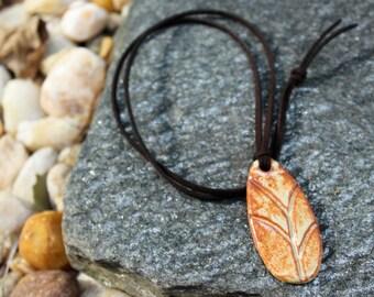 burnt orange / cream ceramic pendant necklace