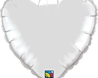 """Silver Heart Balloon-18"""" Heart Balloon- Wedding-Bachelorette Party Balloon"""